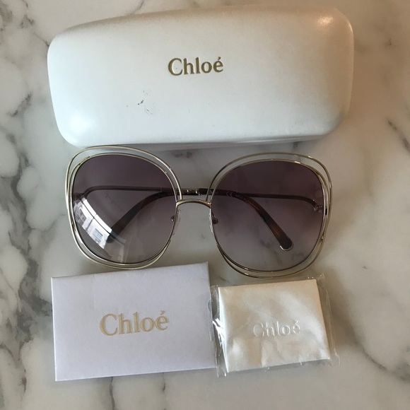 b958a707521 New Chloe Carlina 62 Oversized Sunglasses